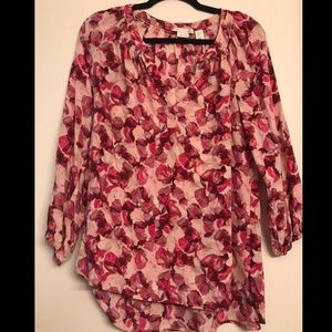 Max Studio Pink Floral 100% Silk Blouse size Large